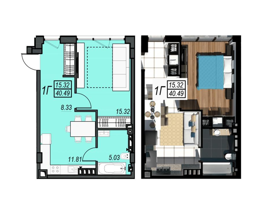 Планировка 1-комнатной квартиры в ЖК Sunrise City 40.49 м², фото 236339