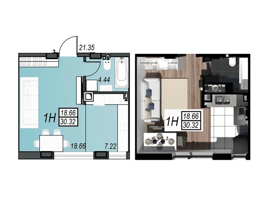 Планировка смарт квартиры в ЖК Sunrise City 30.32 м², фото 236344