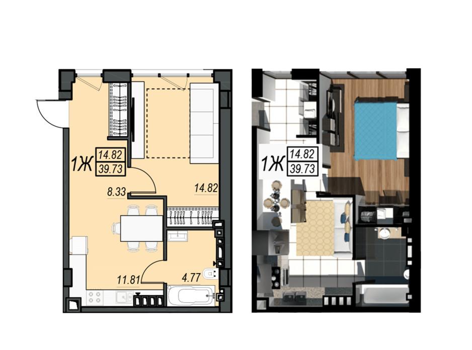 Планировка 1-комнатной квартиры в ЖК Sunrise City 39.73 м², фото 236347
