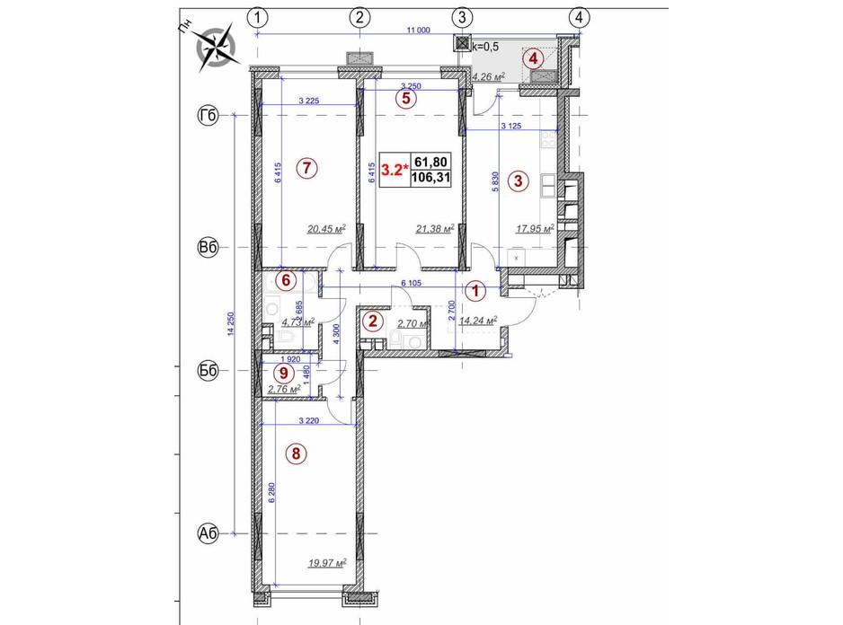 Планировка 3-комнатной квартиры в ЖК Ярославов Град 106.31 м², фото 236365