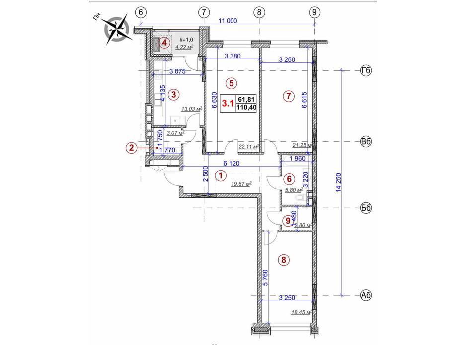 Планировка 3-комнатной квартиры в ЖК Ярославов Град 110.4 м², фото 236373