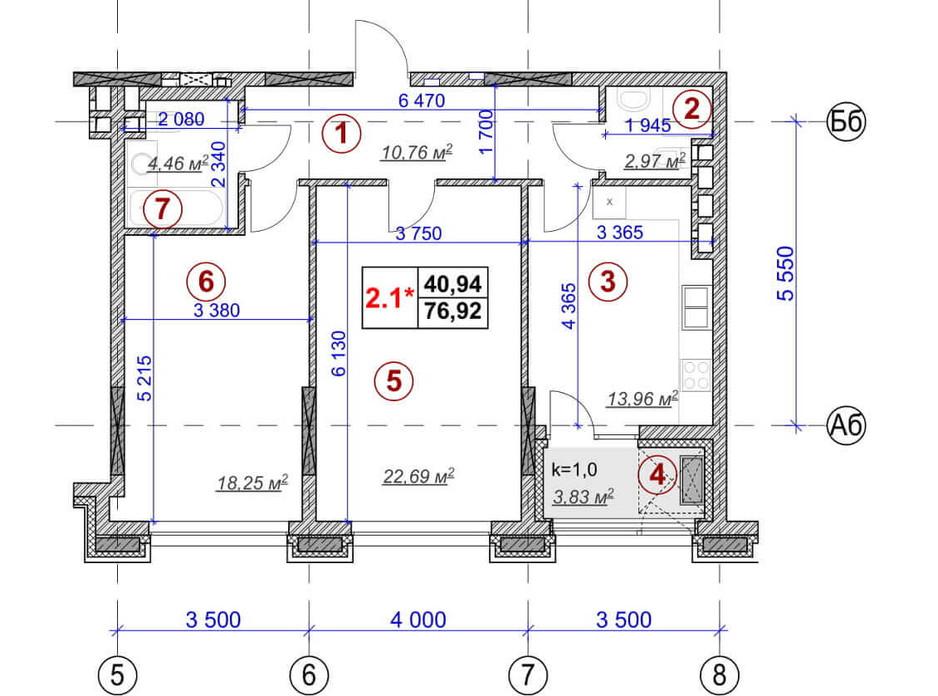 Планировка 2-комнатной квартиры в ЖК Ярославов Град 76.92 м², фото 236377