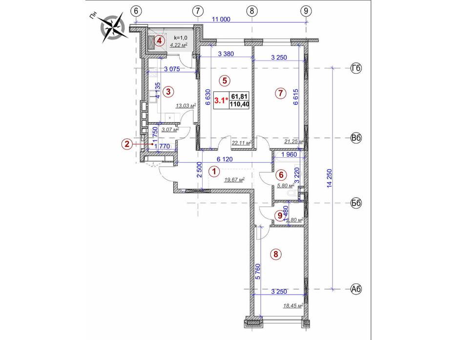 Планировка 3-комнатной квартиры в ЖК Ярославов Град 110.4 м², фото 236380