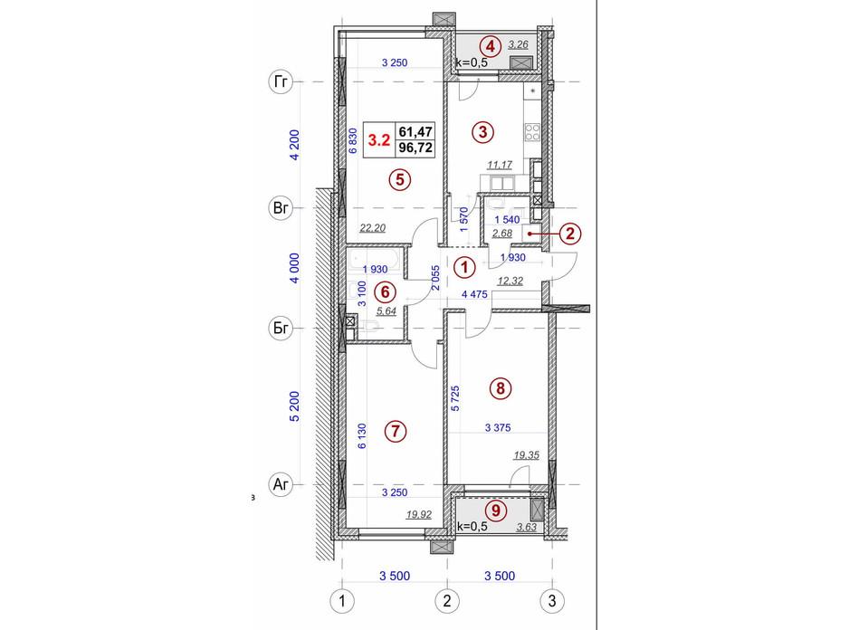 Планування 3-кімнатної квартири в ЖК Ярославів Град 96.72 м², фото 236391