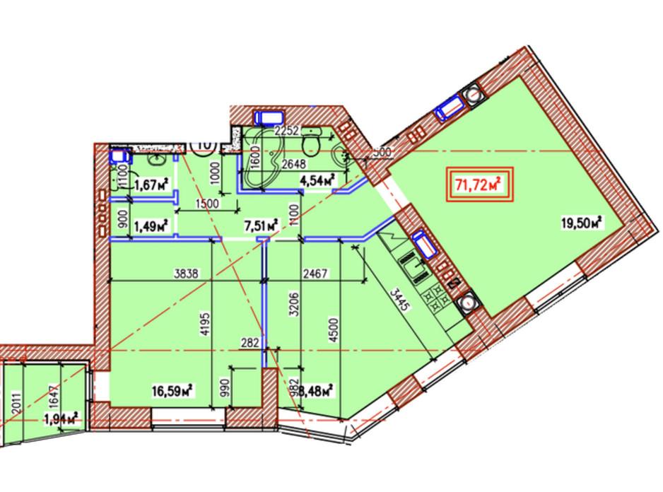 Планування 2-кімнатної квартири в ЖК Уютний квартал 71.72 м², фото 236925