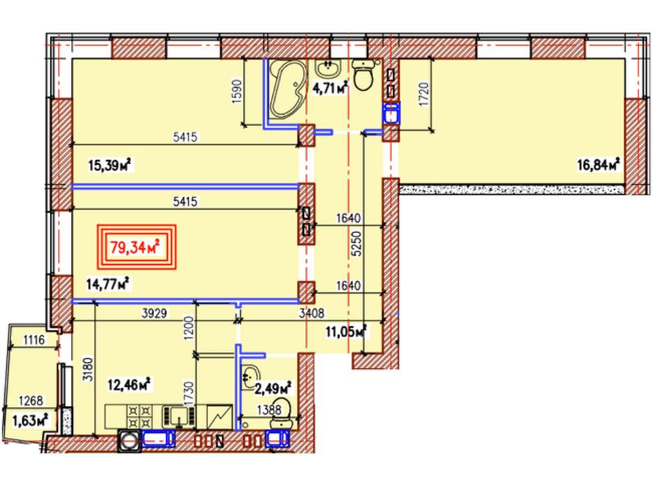 Планування 3-кімнатної квартири в ЖК Уютний квартал 79.34 м², фото 236926