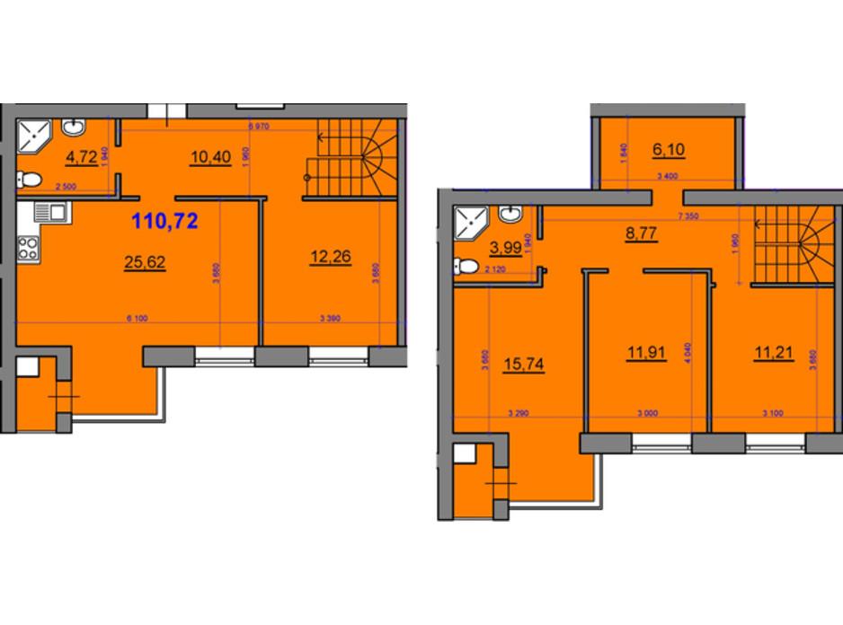 Планування багаторівневої квартири в ЖК Уютний квартал 110.72 м², фото 236927