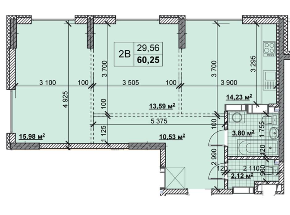 Планировка 2-комнатной квартиры в ЖК Новые Теремки 60.25 м², фото 237406