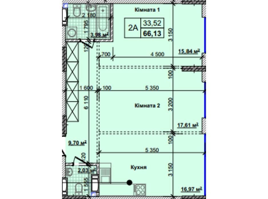 Планировка 2-комнатной квартиры в ЖК Новые Теремки 66.13 м², фото 237407