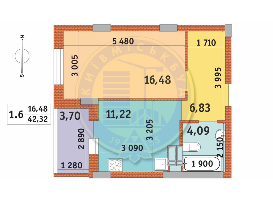 Планировка 1-комнатной квартиры в ЖК Чаривне Мисто 42.32 м², фото 237985