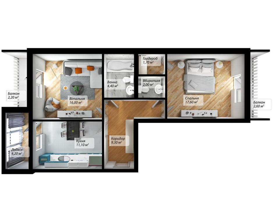 Планування 2-кімнатної квартири в ЖК Сенатор 71.1 м², фото 238026