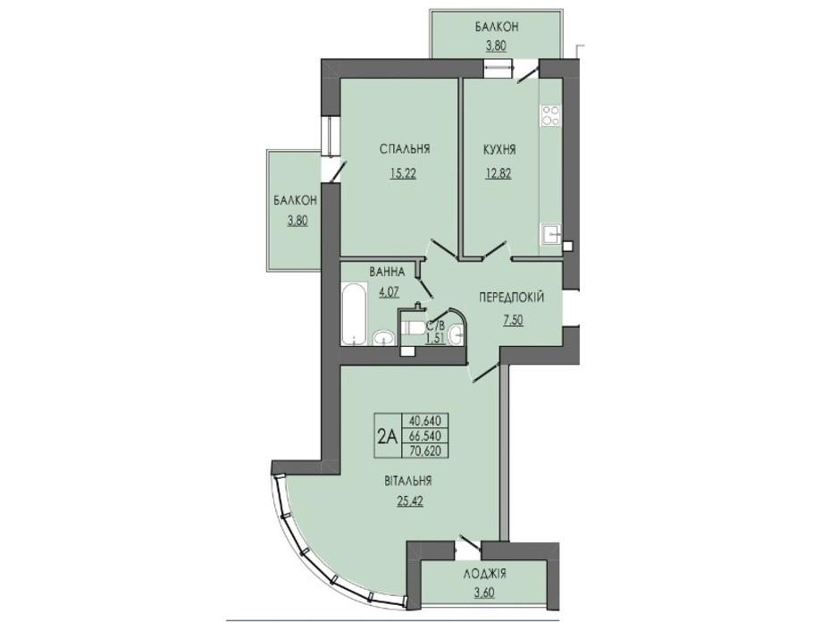 Планировка 2-комнатной квартиры в ЖК по ул. П. Орлика 7 70.62 м², фото 238845