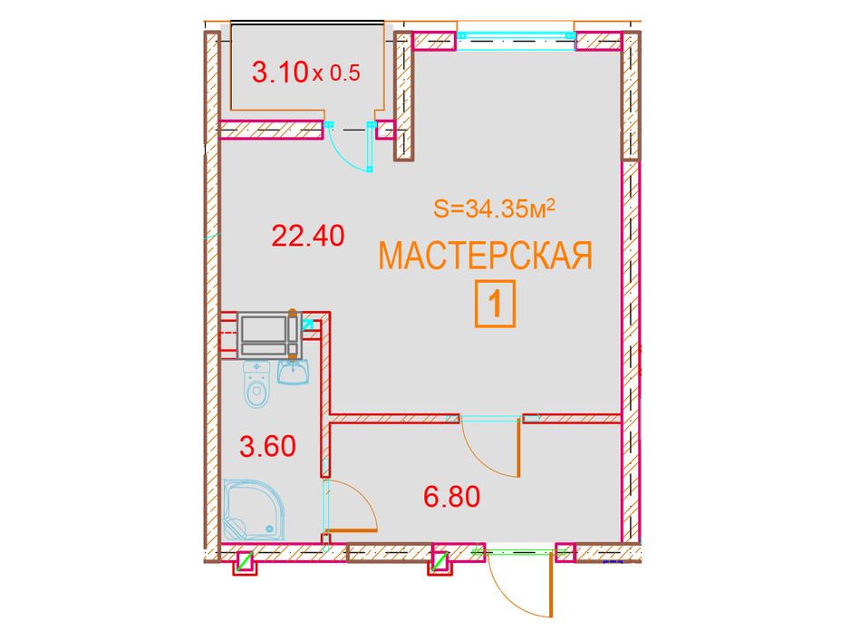 Планування приміщення в ЖК Велесгард 34.35 м², фото 239675