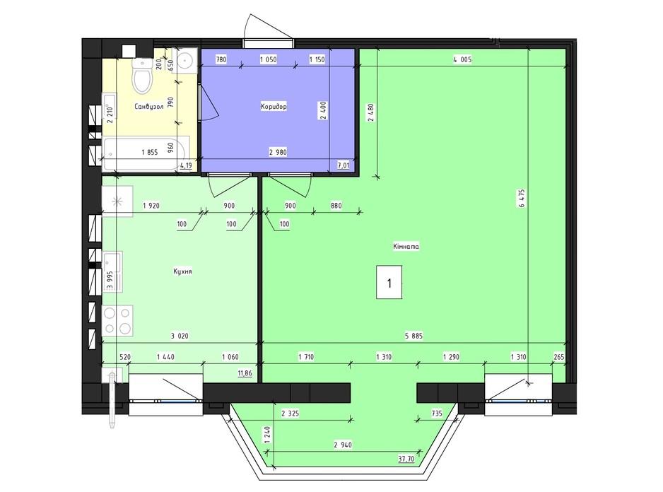 Планировка 1-комнатной квартиры в ЖК Парус 59.8 м², фото 239973
