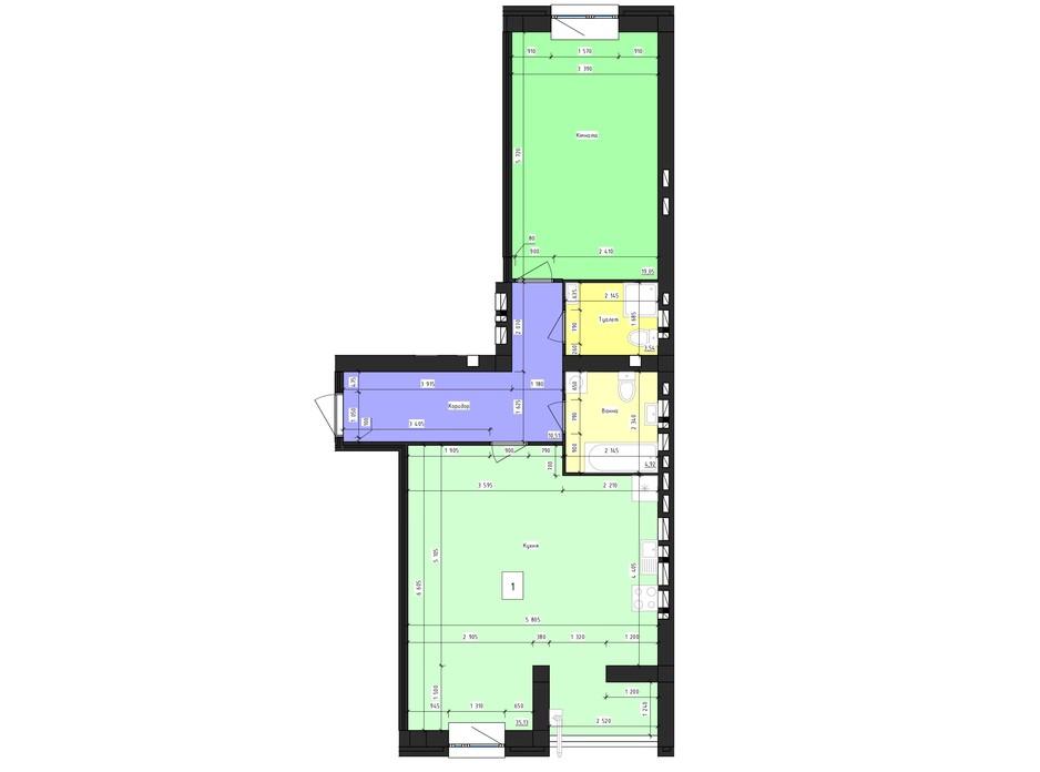 Планировка 1-комнатной квартиры в ЖК Парус 71.61 м², фото 239979