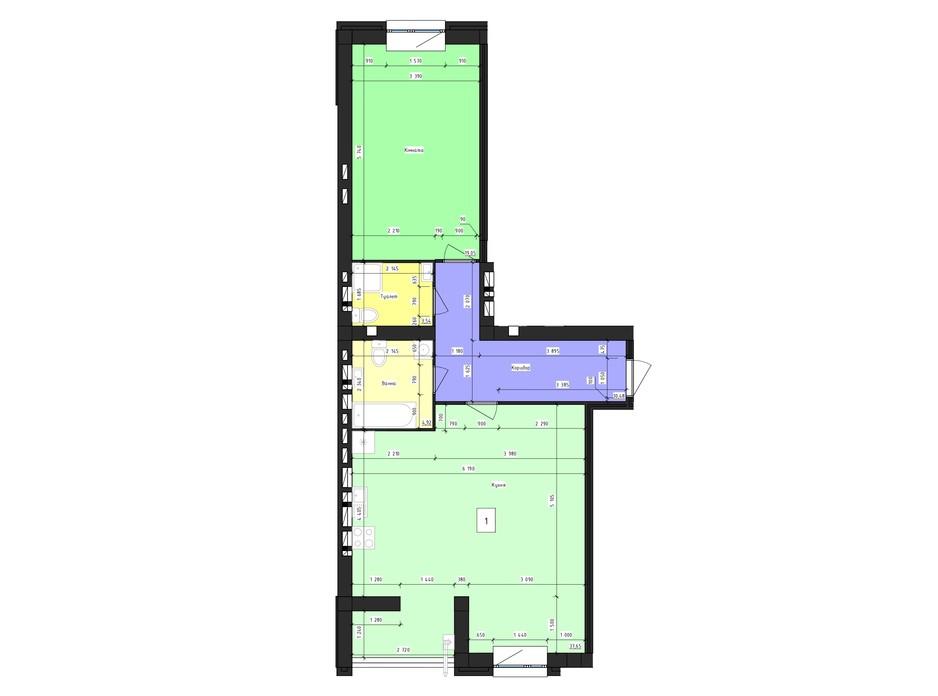 Планировка 1-комнатной квартиры в ЖК Парус 74.07 м², фото 239980