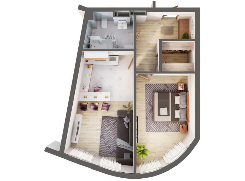 Планування 1-кімнатної квартири в ЖК Greenville Park Kyiv 54 м², фото 240281