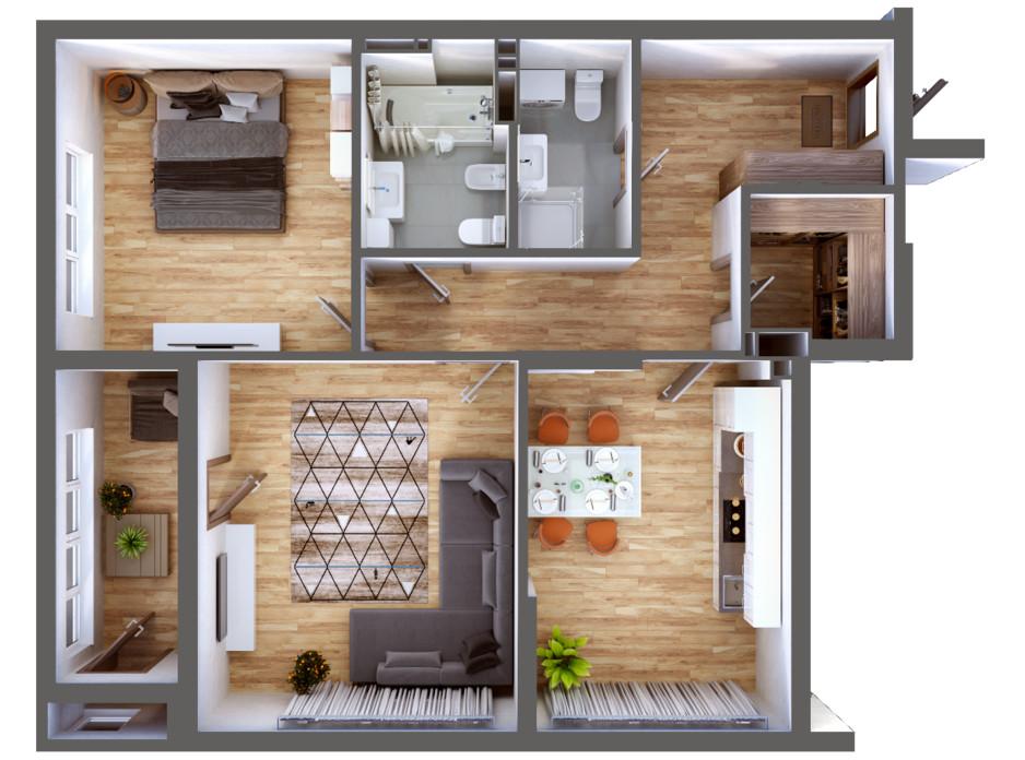 Планування 2-кімнатної квартири в ЖК Greenville Park Kyiv 87.1 м², фото 240282