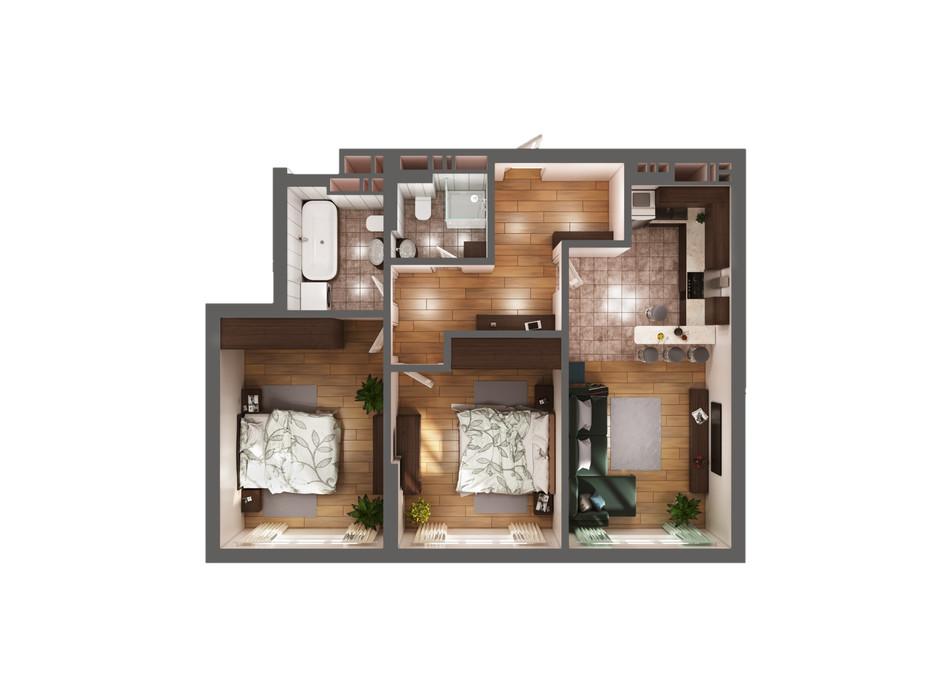 Планування 2-кімнатної квартири в ЖК Greenville Park Kyiv 74 м², фото 240290