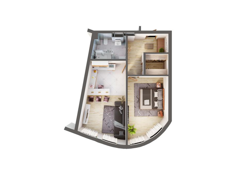 Планування 1-кімнатної квартири в ЖК Greenville Park Kyiv 53.9 м², фото 240292