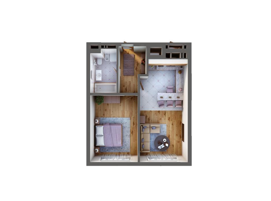 Планування 1-кімнатної квартири в ЖК Greenville Park Kyiv 50.6 м², фото 240295