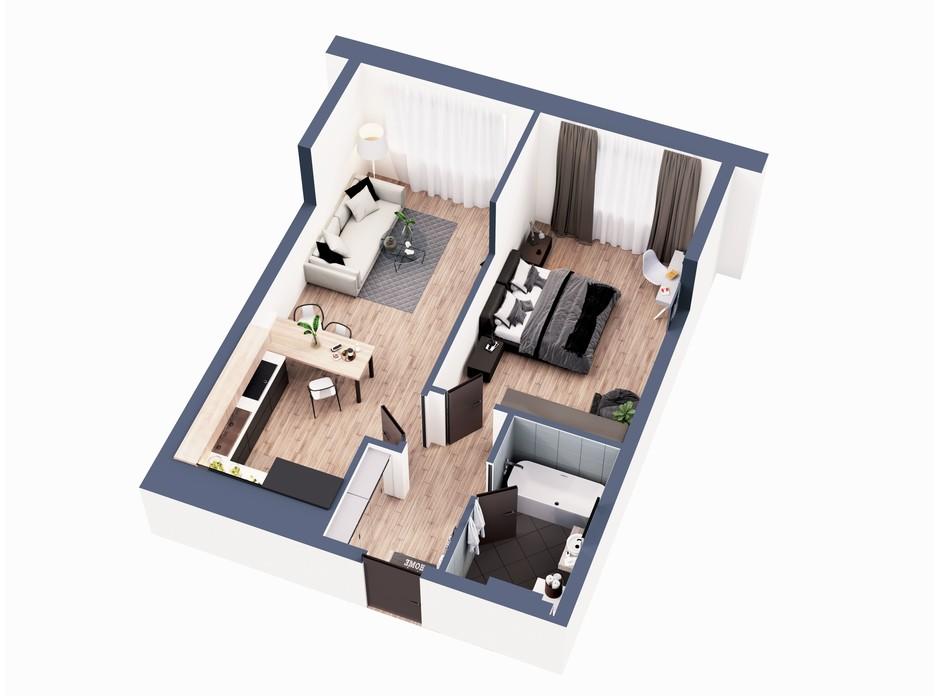 Планування 1-кімнатної квартири в ЖК Greenville Park Kyiv 56.4 м², фото 240359