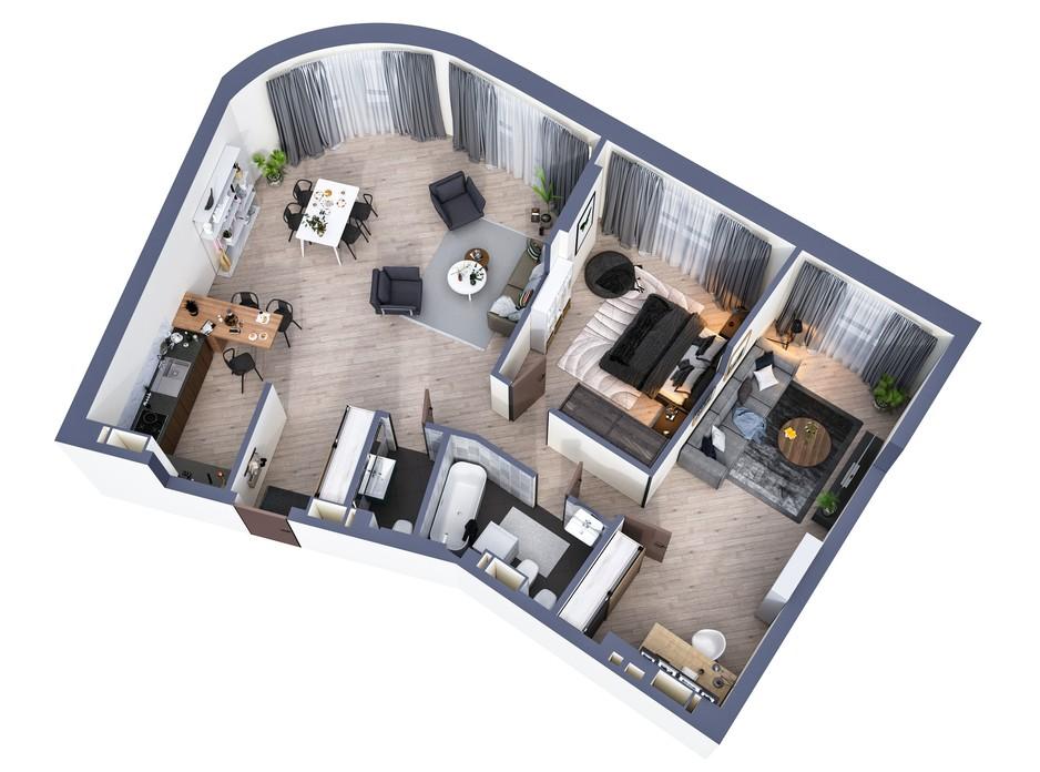 Планування 3-кімнатної квартири в ЖК Greenville Park Kyiv 106.8 м², фото 240407