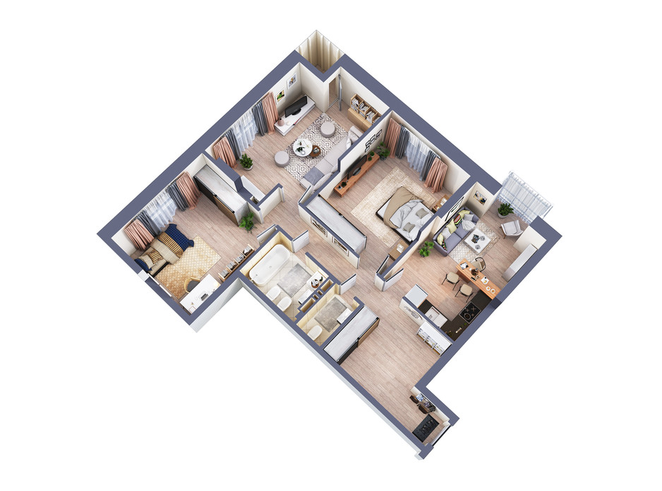 Планування 3-кімнатної квартири в ЖК Greenville Park Kyiv 101.4 м², фото 240443