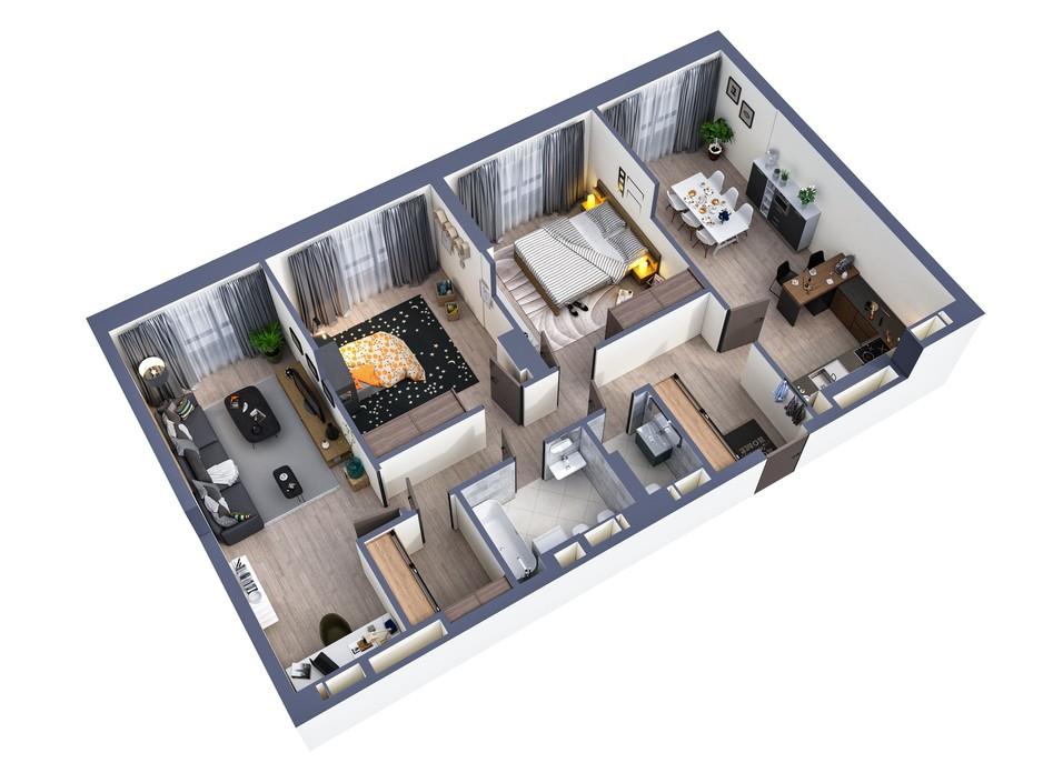 Планування 3-кімнатної квартири в ЖК Greenville Park Kyiv 103.1 м², фото 240451