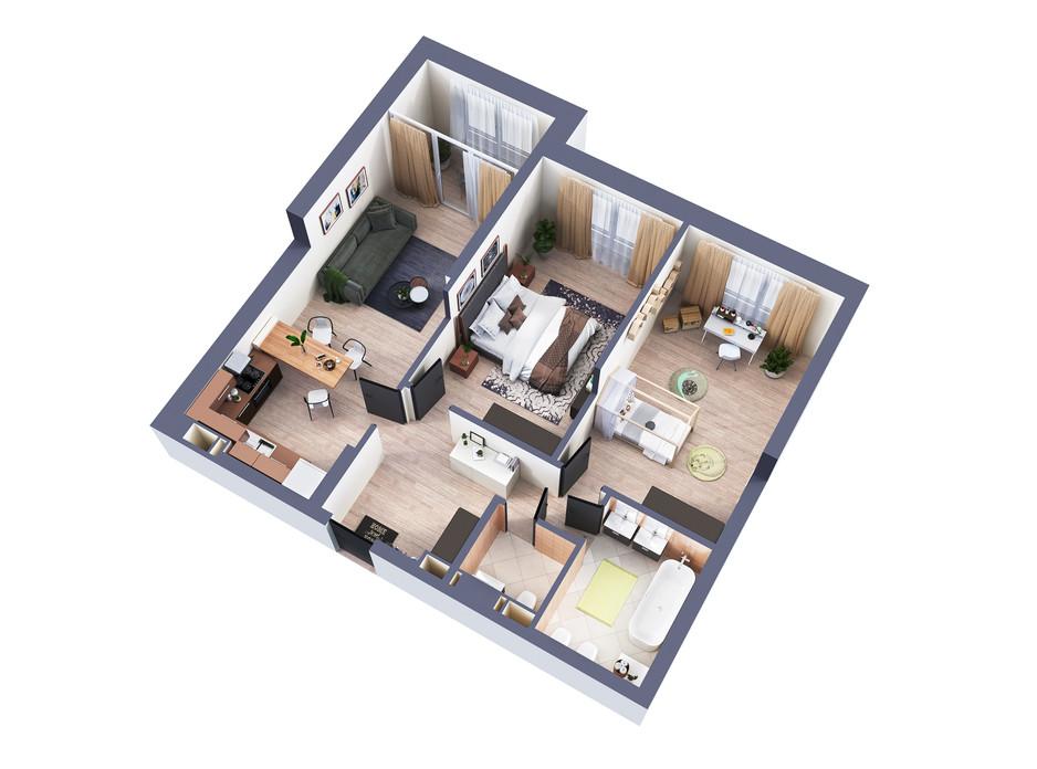 Планування 2-кімнатної квартири в ЖК Greenville Park Kyiv 87.5 м², фото 240461