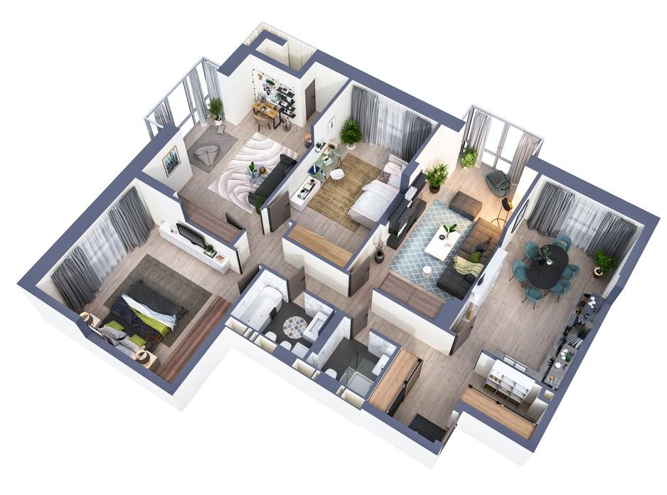 Планування 4-кімнатної квартири в ЖК Greenville Park Kyiv 132.5 м², фото 240489