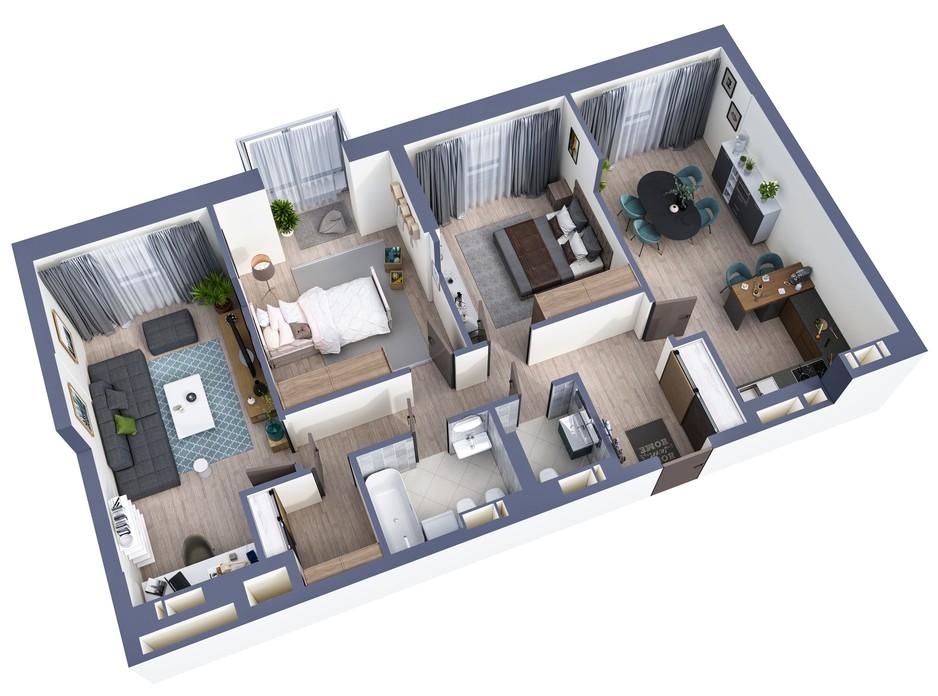 Планування 3-кімнатної квартири в ЖК Greenville Park Kyiv 95.1 м², фото 240499