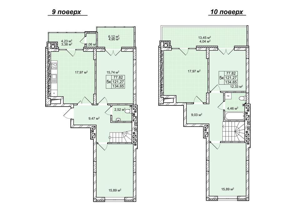 Планування багаторівневої квартири в ЖК Софіївка 136 м², фото 240681
