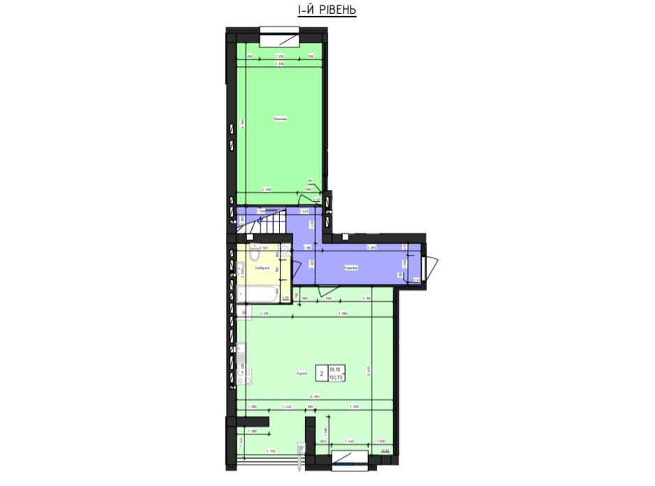 Планировка многоуровневой квартиры в ЖК Парус 151.73 м², фото 240872