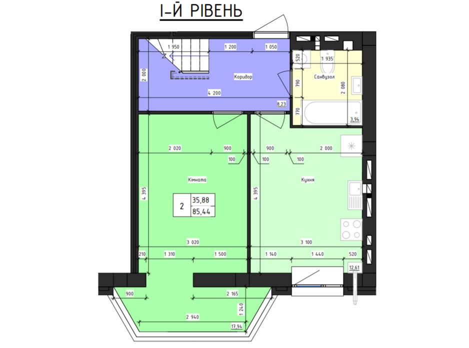 Планировка многоуровневой квартиры в ЖК Парус 85.44 м², фото 240874