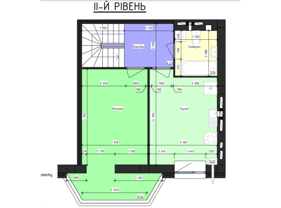 Планировка многоуровневой квартиры в ЖК Парус 85.44 м², фото 240878