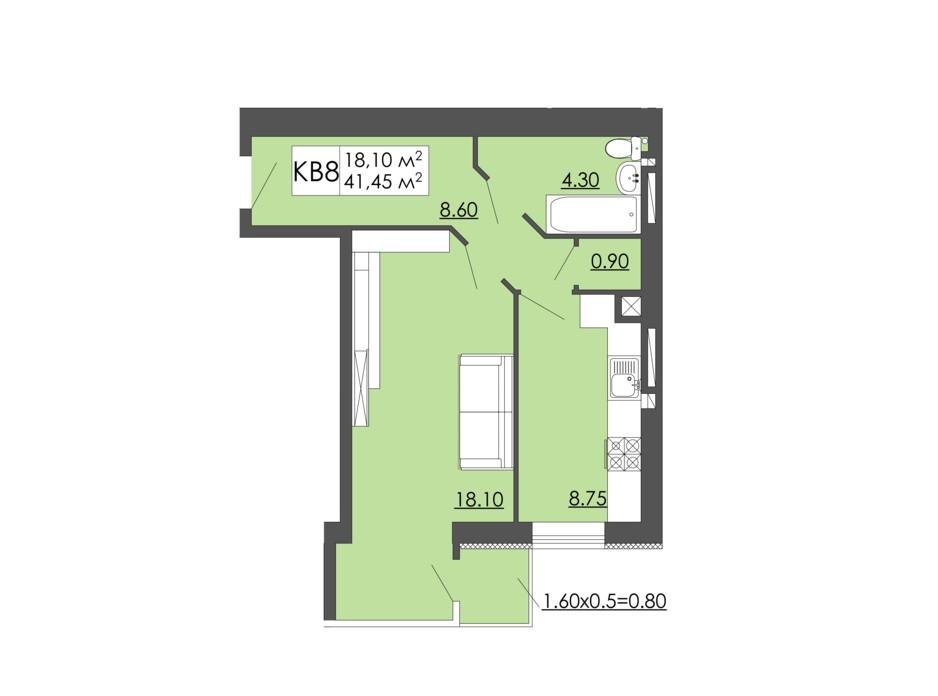 Планировка 1-комнатной квартиры в ЖК Родинна казка 41.45 м², фото 240960