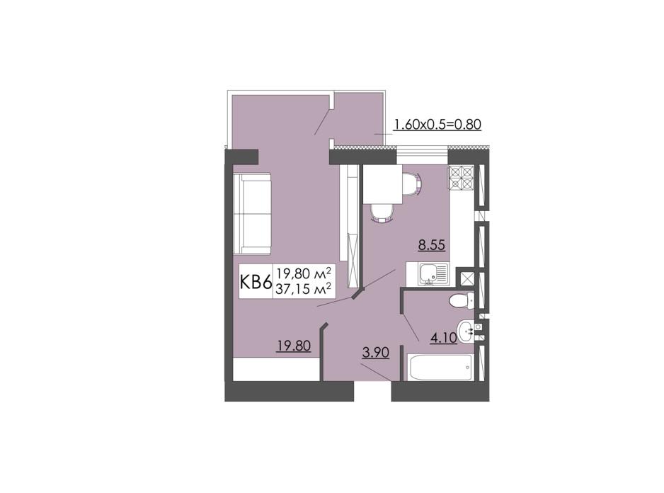 Планировка 1-комнатной квартиры в ЖК Родинна казка 37.15 м², фото 240961