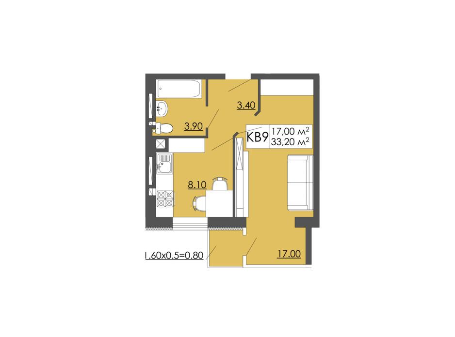 Планировка 1-комнатной квартиры в ЖК Родинна казка 33.2 м², фото 240962