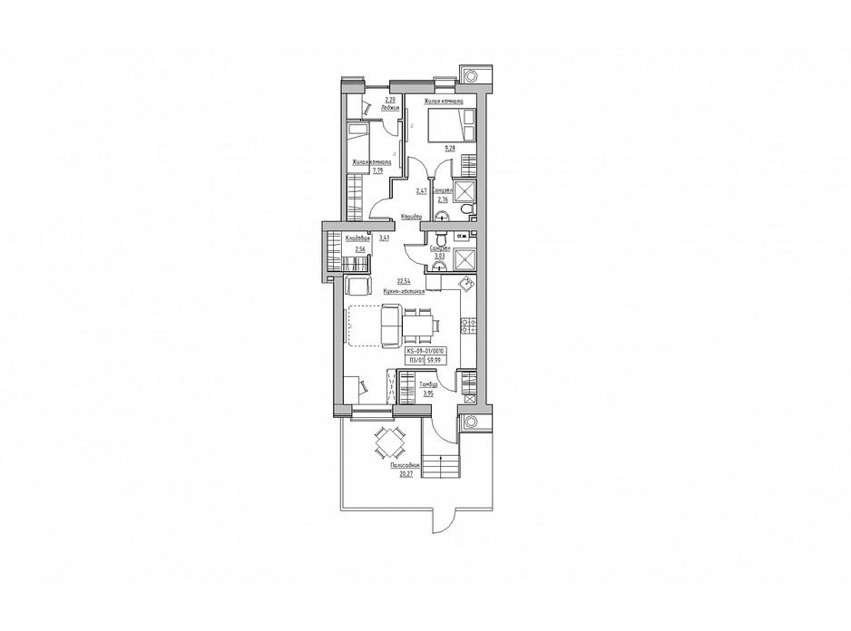 Планировка 2-комнатной квартиры в ЖК KEKS 66.11 м², фото 241411