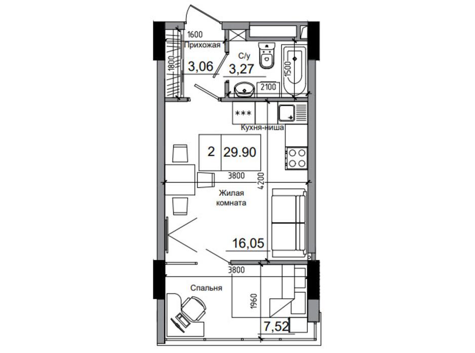 Планировка 1-комнатной квартиры в ЖК Artville 29.9 м², фото 241420
