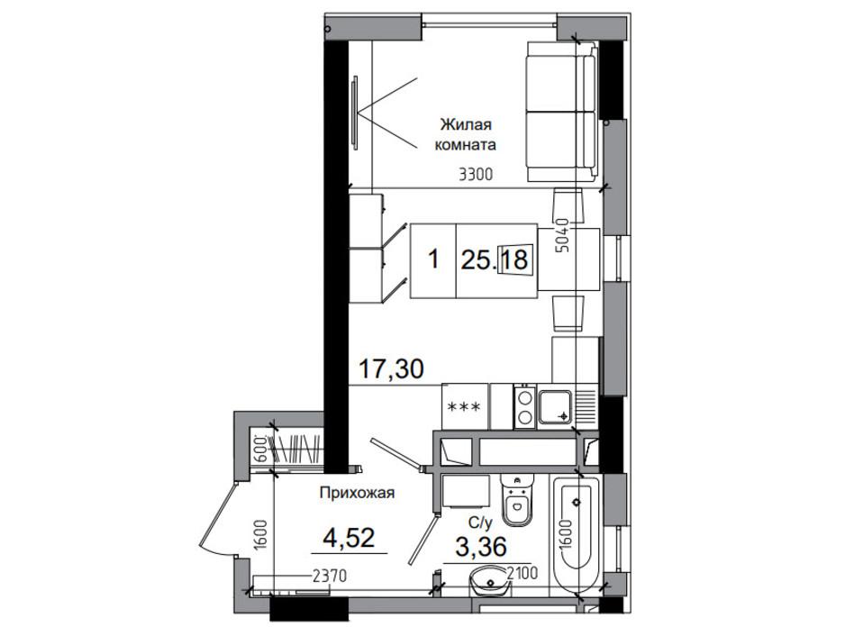 Планировка смарт квартиры в ЖК Artville 25.18 м², фото 241421