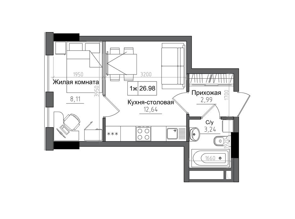 Планировка 1-комнатной квартиры в ЖК Artville 26.98 м², фото 241430