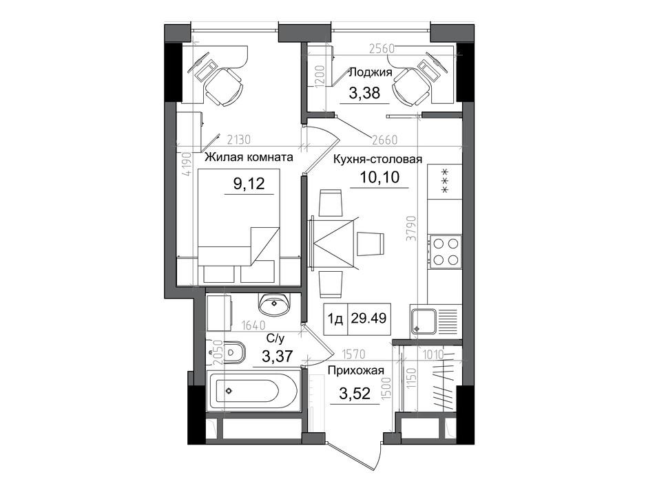 Планировка 1-комнатной квартиры в ЖК Artville 29.49 м², фото 241446