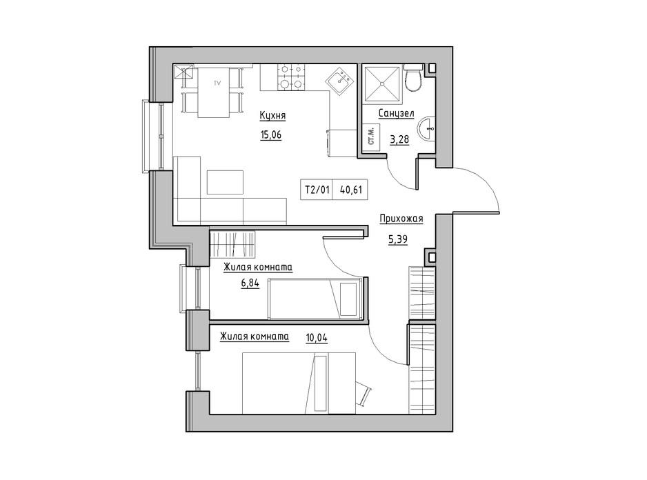 Планировка 2-комнатной квартиры в ЖК KEKS 40.49 м², фото 241454