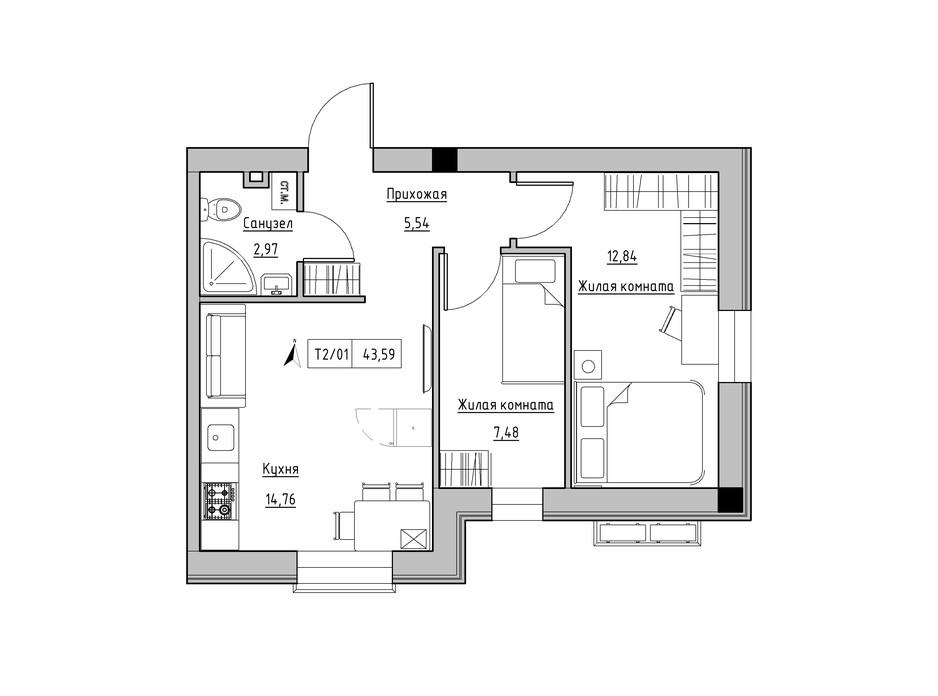 Планировка 2-комнатной квартиры в ЖК KEKS 43.59 м², фото 241474