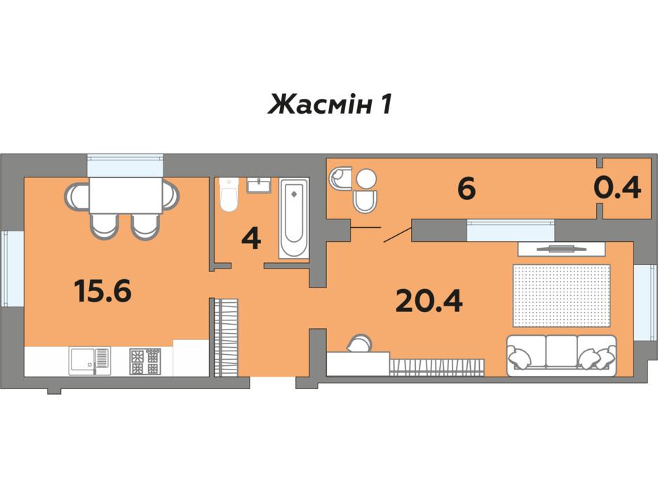 Планування 1-кімнатної квартири в ЖК Яровиця 48 м², фото 241996