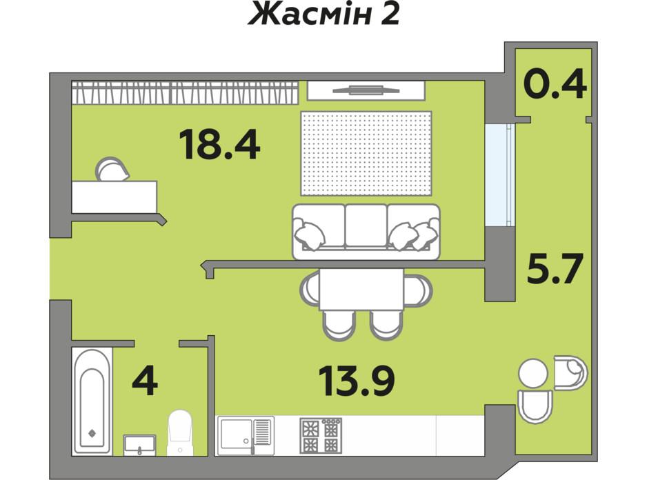 Планировка 1-комнатной квартиры в ЖК Яровица 45.9 м², фото 242001