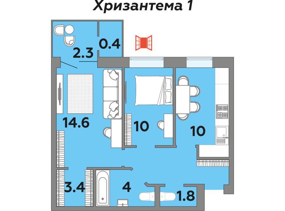 Планування 2-кімнатної квартири в ЖК Яровиця 55.9 м², фото 242002