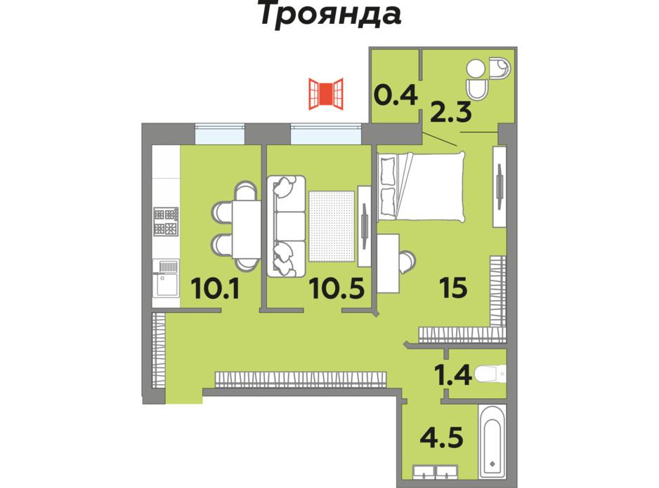 Планування 2-кімнатної квартири в ЖК Яровиця 54.9 м², фото 242006